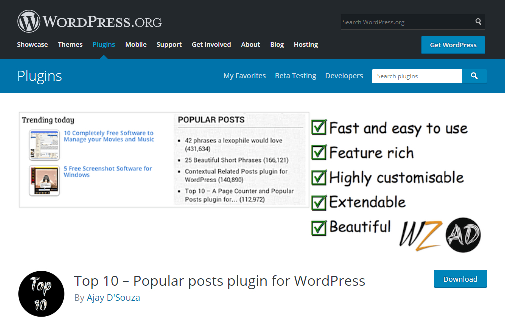 Top 10 – Popular posts plugin 熱門文章工具